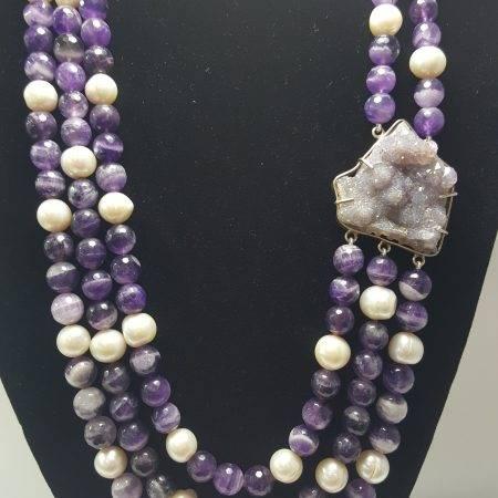 collar de amatista y perla - 1001001