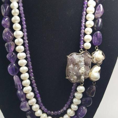 collar de amatista y perla - 1001003
