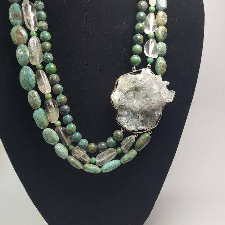 collar de turquesa y cuarzo - 1003001