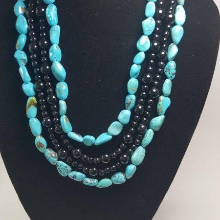 collar de turquesa y ónix - 1003002