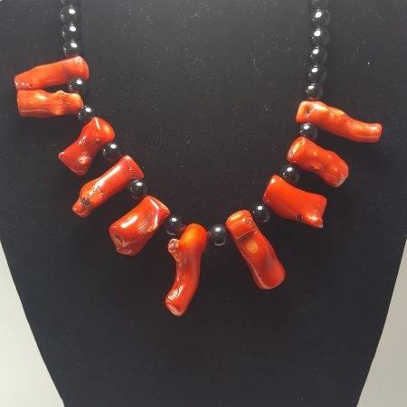 collar de ónix y coral bambú - 1041002