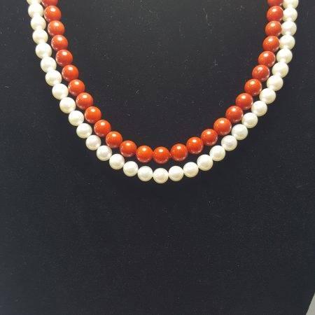 collar de perla y coral bambú - 1041003
