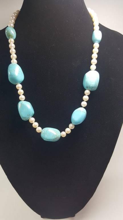 collar de perla y turquesa - 1044005