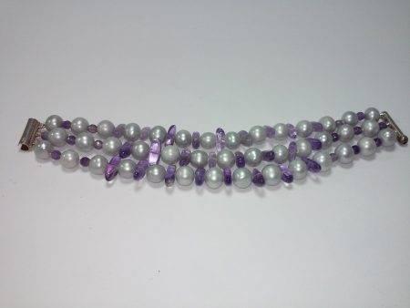 pulsera de perla gris y amatista - 2046001