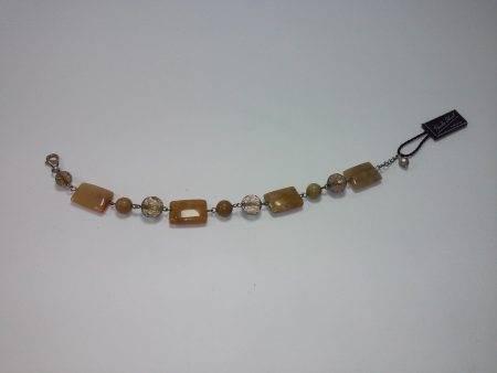 pulsera de cuarzo ahumado, jaspe madera y coral fósil - 2092001