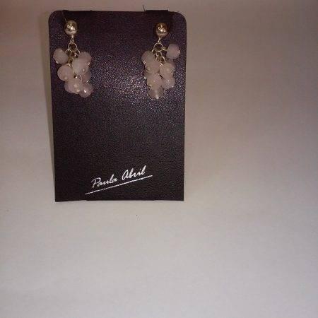 pendientes de cuarzo rosa - 3005001
