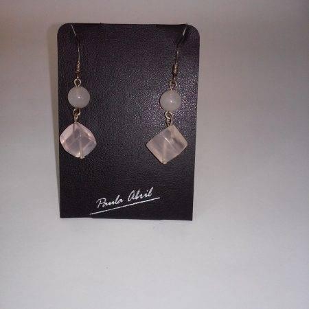pendientes de cuarzo rosa - 3005003