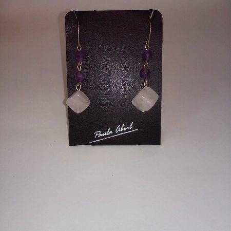 pendientes de cuarzo rosa y amatista - 3005004