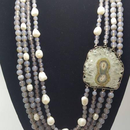 collar de ágata y perla - 1044001
