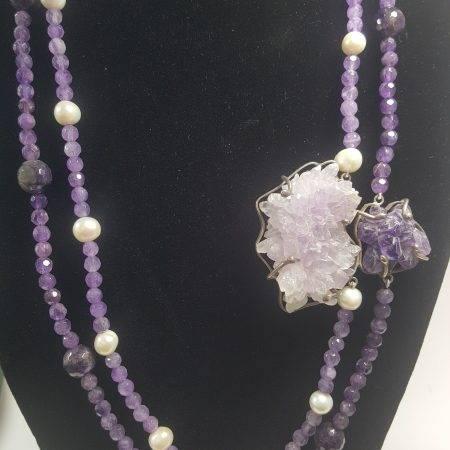 collar de amatista y perla - 1001007