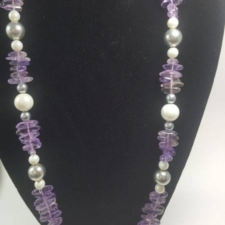 collar de amatista y perla - 1001008